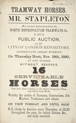 Advert for Mr Stapleton's horse auction